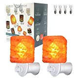MAYMII·HOME 2 Pack Carved Cube Mini Himalayan Salt Rock Night Light Lamps Plug in Wall Night Light Crystal Salt Lamp Natural Air Purifier and Soft Night Light for Living Dining Bed Room and Office