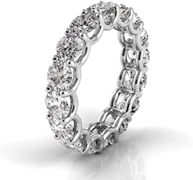 14K White Gold Round Diamond U-Prong Eternity Band in G-H Color and VS2-SI1 Clarity