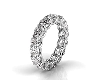 3362070e7 Amazon.com: 14K White Gold Round Diamond U-Prong Eternity Band in G-H Color  and VS2-SI1 Clarity: Jewelry
