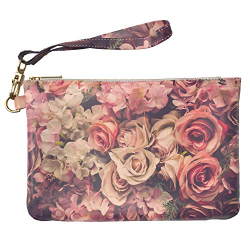 (Lex Altern Makeup Bag 9.5 x 6 inch Vintage Floral Roses Buds Flowers Pink White Travel PU Leather Case Toiletry Women Zipper Organizer Storage Wristband Girly Accessories Print Purse Pouch Cosmetic)