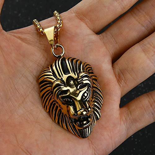 Men Lion Head Pendant Necklace Vintage Cool Biker Animal Iron Men Necklaces Black Stainless Steel Chain Necklace For Men