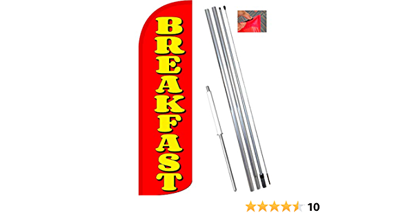 five BREAKFAST yel//red 15 WINDLESS SWOOPER FLAGS KIT 5