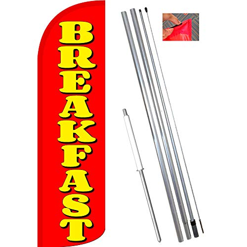 Breakfast (Red/Yellow) Windless Feather Flag Bundle (11.5' Tall Flag, 15' Tall Flagpole, Ground Mount Stake) ()