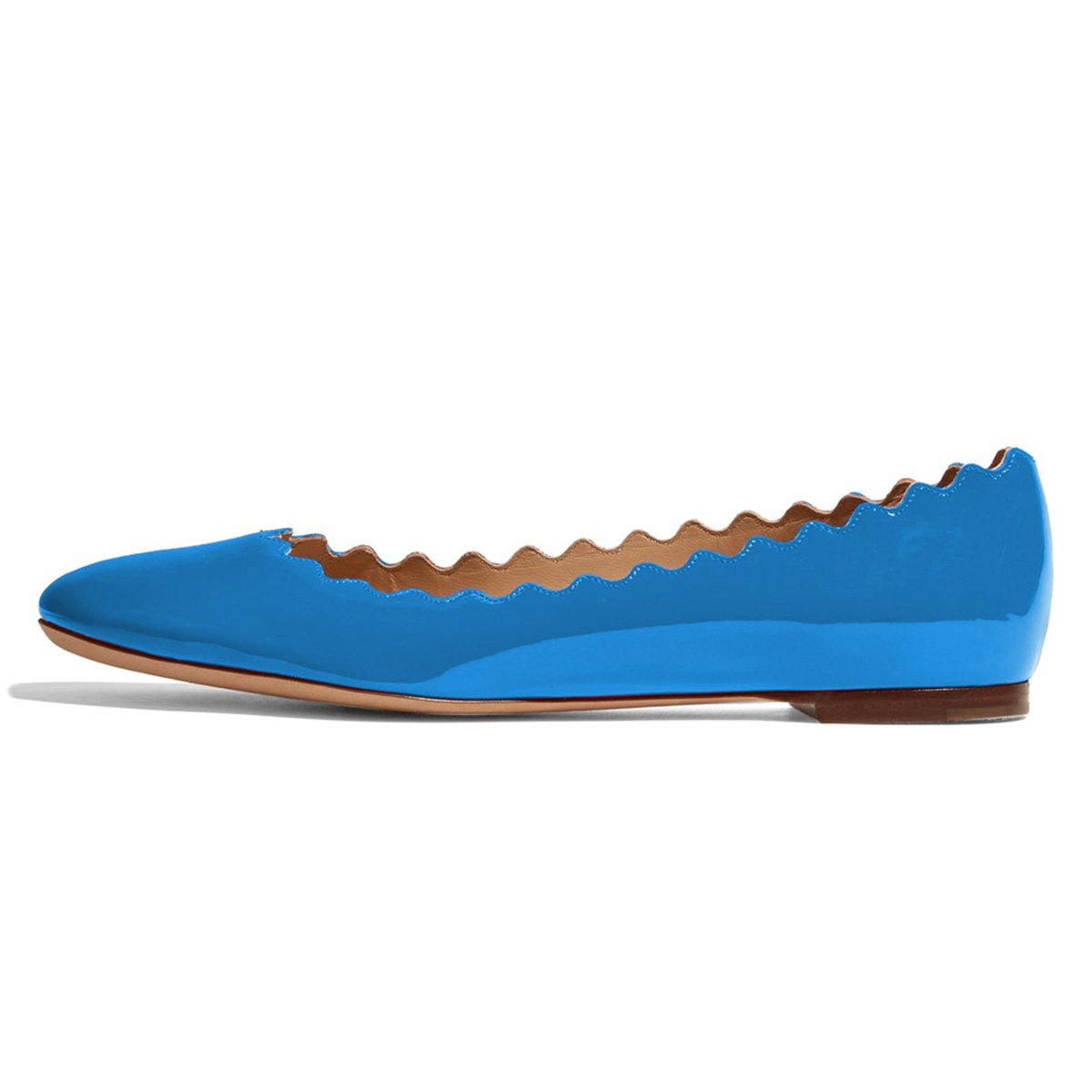 FSJ Women Cute Dress Shoes Scalloping Round Toe Suede Ballet Flats for Comfort Size 7 Blue