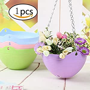 EQLEF® 1Pcs Flexible Chain Resin Planter Basket Garden Home Decoration Hanging Flower Pot