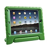 HDE iPad Air Bumper Case for Kids Shockproof Hard Cover Handle Stand with Built in Screen Protector for Apple iPad Air 1 (Green)