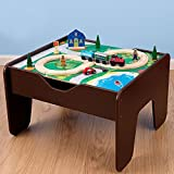 30 Piece KidKraft 2-in-1 Espresso Train & LEGO Activity Table
