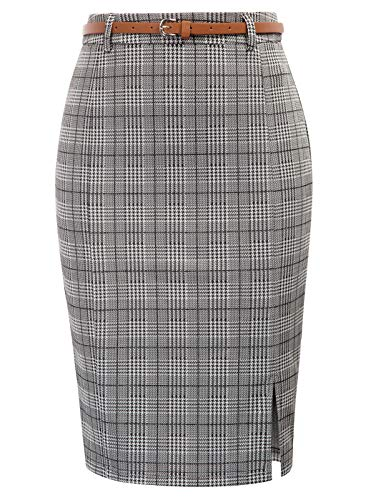 Women's Vintage Bodycon Pencil Skirt for Formal Office Grey Grid, Size XL