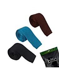 BMC Mens Crochet Knitted Square Flat End Fashion Neck Ties 3pc Collection - Set 4, Solid Atlantic