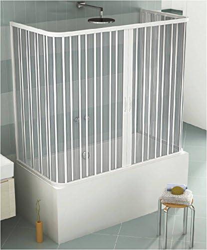 GRANISUD Mampara Bañera en PVC a Tres Lados, Apertura Central, Dos Hoja, 70 x 140 x 70 cm, H 150 cm, Blanco: Amazon.es: Hogar