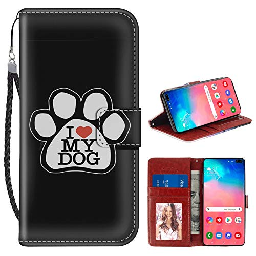 Prints Paw Wallet (I Love My Dog Samsung Galaxy S10+ Wallet Case PU Leather Cover and TPU Protective Phone case with Card Holder Magnetic Folio Flip Samsung Galaxy S10 Plus Case Wallet)