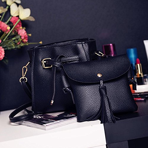 Rakkiss Women Four Set Handbag Shoulder Bag Fashion Tote Bag Crossbody Wallet Leather Satchel Backpack(Four Pieces) (One_Size, Black) by Rakkiss_Clearance Bag (Image #2)