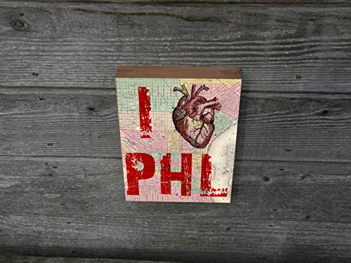 I heart Philly - I Love Philadelphia - Large Art Print Anatomical Medical -Map Page Background Wood Block art print 9x12