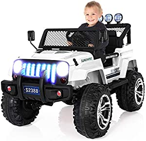 USINFLY Electric Car for Kids, 12V Battery Powered Car for Kids,Kids Ride on Car with Remote Control, Battery Powered Car w/2 Motors, Remote Control, LED Lights, MP3, Horn, Music (White)