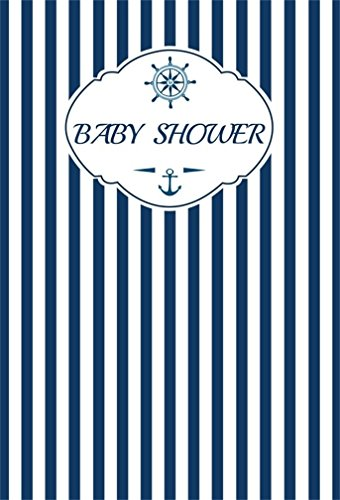 CSFOTO 6x8ft Background for Helm Boy Baby Shower Photography Backdrop Blue Striped Anchor Compass Nautical Theme Party Pregnant Welecom Little One Celebration Photo Studio Props Vinyl Wallpaper (Photo 8' Digital Album)
