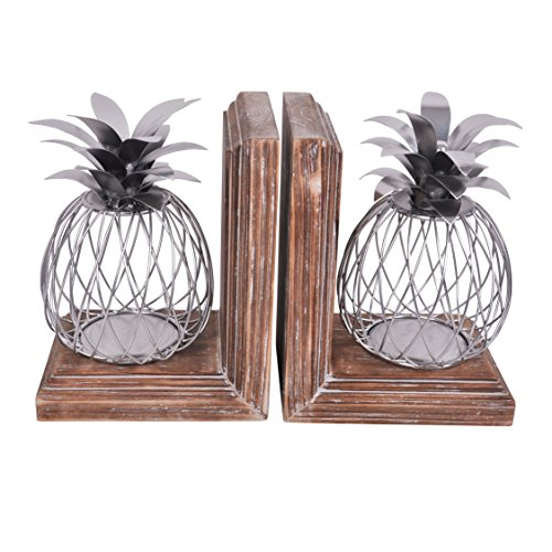 Sagebrook Home Silver S/2 Metal Pineapple Book Ends 16 x 6 x 10.5 Inches
