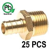 PEX 3/4'' x 3/4'' Inch Male NPT Thread Adapter - Crimp Fitting Bag of 25 pcs/Brass / 3/4'' X 3/4''