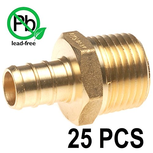 PEX 3/4'' x 3/4'' Inch Male NPT Thread Adapter - Crimp Fitting Bag of 25 pcs/Brass / 3/4'' X 3/4'' by VENTRAL