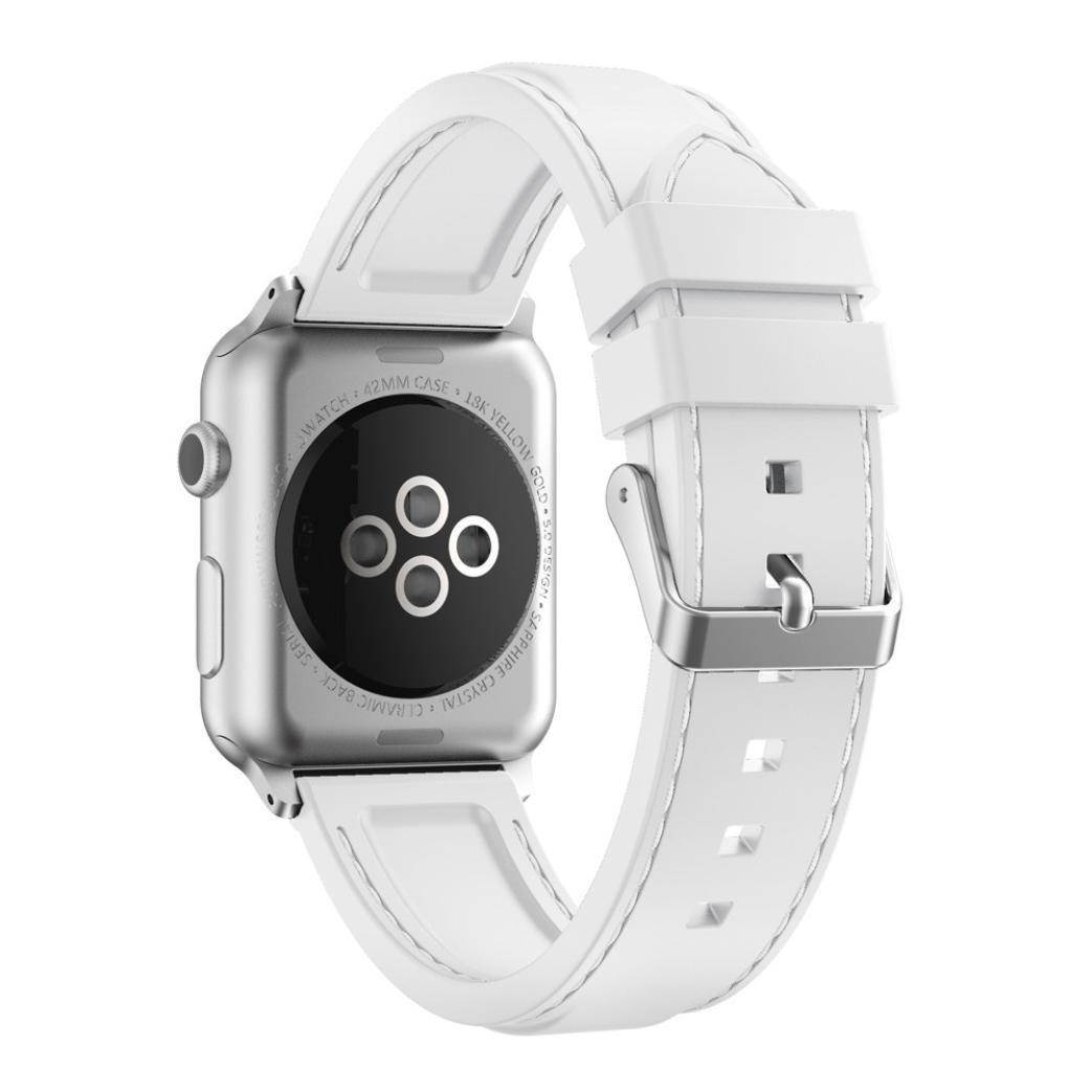 シリコンバンド、Ankola for Apple Watchシリーズ2 / 1スポーツブレスレット交換用手首ストラップ 38mm ホワイト 38mm|ホワイト ホワイト 38mm B071ZB8MH7