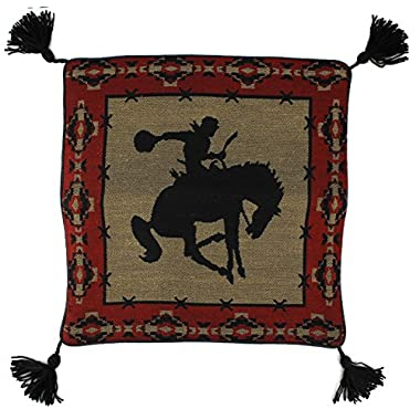 Southwest Décor Woven Acrylic Bucking Bronco Red / Tan 18 x 18 inch Pillow Cover