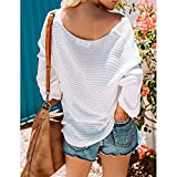 Preferential New Zlolia Womens V Neck Sweaters Solid Off Shoulder Loose Pullover Knit Jumper Tunic Tops