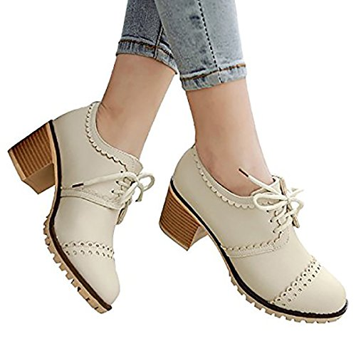 Susanny Classic Retro Pu Oxfords Brogue Shoes Women's Mid-heel Wingtip Lace Up Dress Beige Shoes 8 B (M) US