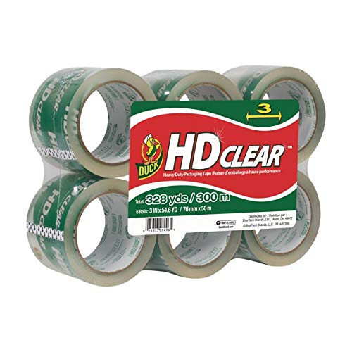 Duck HD Clear Heavy Duty Wide Packaging Tape Refill, 6 Rolls, 3 Inch x 54.6 Yard, (307352) (Bottom Inch Box Three)