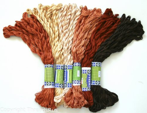 New ThreadNanny 60 Skeins of Silky Hand Embroidery Cross Stitch Floss Threads - BROWN TONES by ThreadNanny