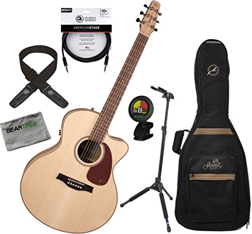 Seagull 032471 Performer CW Mini Jumbo HG QIT Acoustic Electric Guitar w/ Bag, Geartree Cloth, Deluxe Cable, Tuner, Lock-it Strap, and Locking Stand