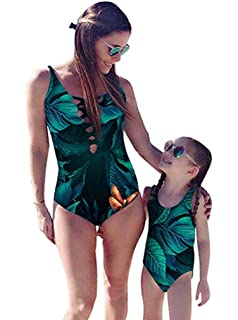 Mommy and Daughter Matching Swimsuits Leaf Print Vintage Swimwear Sleeveless One-Piece Bathing Suit