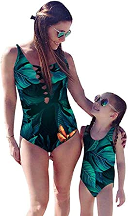Mommy and Me Swimsuit Mother Daughter Family Matching Floral Print Two Pieces Bathing Suit Mom Girls Swimwear Monikini