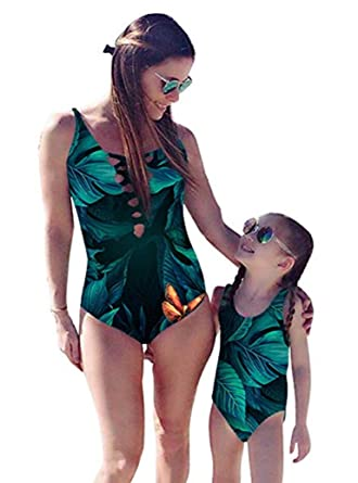 805219217d Mommy and Me Swimsuit Family Matching Mother Daughter Leaves Print Swimwear  Bathing Suit (3-