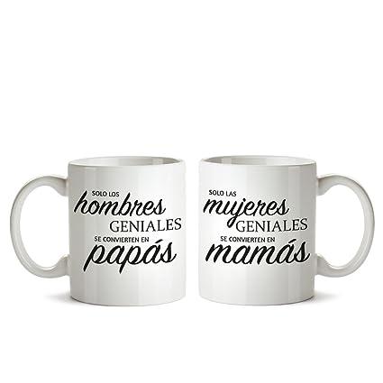 Juego de Dos Tazas – Tazas de café Blancas con Mensaje – Taza de graduación para mamás y papás – Taza de café como Regalo del Día de la Madre o del ...