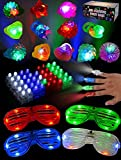 Toy 60 Pieces LED Light Up Toy Glow in The Dark Party Supplies, Party Favors for Kids with 44 LED Finger Lights, 12 LED Flashing Bumpy Rings and 4 Flashing Slotted Shades Glasses