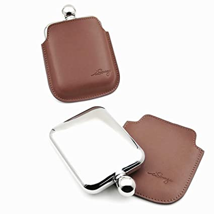 Savage 6oz Hip Flask in Removable Black Leather Case 18//8 Stainless Steel