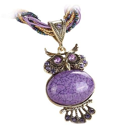 Hmlai Clearance! Fashion Bohemian Owl Statement Necklaces Rhinestone Gem Pendant Collar Jewelry Gift for Women (Purple)