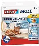 tesamoll® Silikondichtung Premium Flexible - schließt Fenster- und Türspalten, transparent, 6 m (3er Pack)