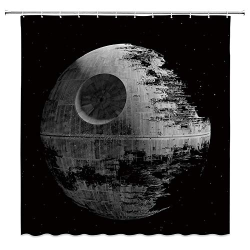 AMNYSF Star Wars Shower Curtain Death Star Ultimate Weapon Decor Black Fabric Bathroom Curtains,70x70 Inch Waterproof Polyester with Hooks
