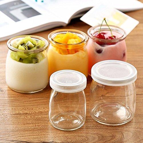 MMXXAIWWAA Vidrio con tapa taza de pudín de alta temperatura taza de mousse de gelatina para hornear herramientas para aumentar la botella boca con leche ...