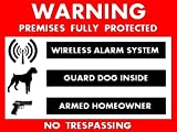 Security Alarm Stickers - Featuring Alarm System & Gun Owner & Guard Dog Warning ($6.98 Total Cost w/ Shipping) 6 pack
