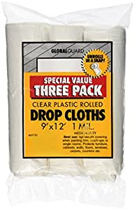 Premier Paint Roller 69730 Plastic Drop Cloth, 9-Feet by 12-Feet, 3-Pack
