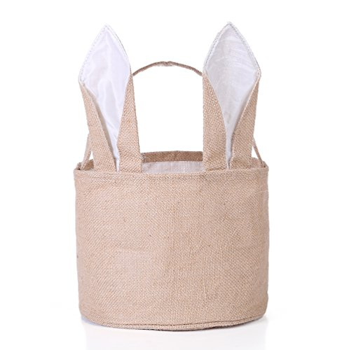 Bag Egg White (Easter Egg Basket for kids Bunny Burlap Bag to Carry Eggs Candy and Gifts (White))