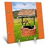 3dRose Jos Fauxtographee- Wishing Well - A wishing well with an orange frame on both sides - 6x6 Desk Clock (dc_288627_1)