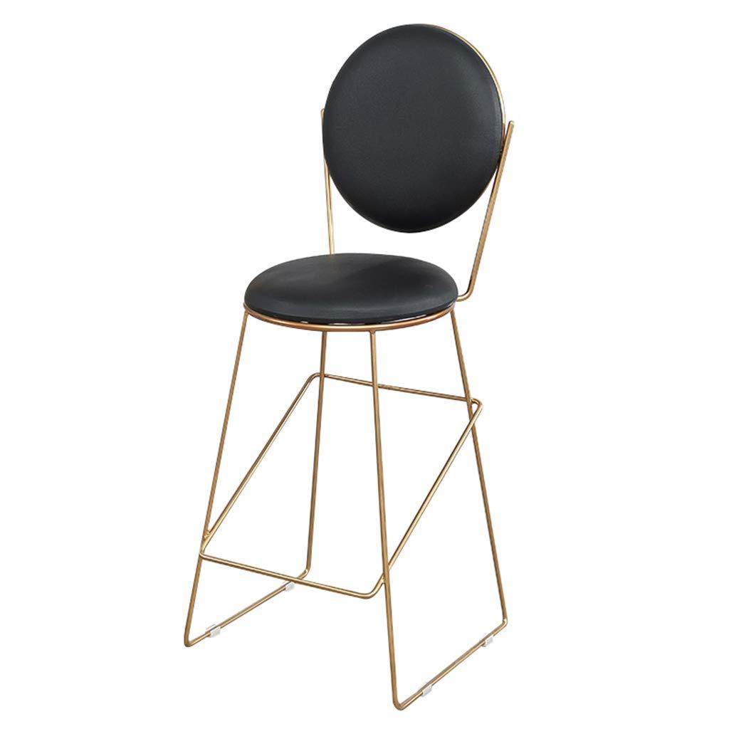 CFJRB 産業スタイルBarStool |椅子背もたれ付きPUキッチンリビングルームシーツ高さ:74cm (色 : Black cushion) B07MJZ4K9C Black cushion