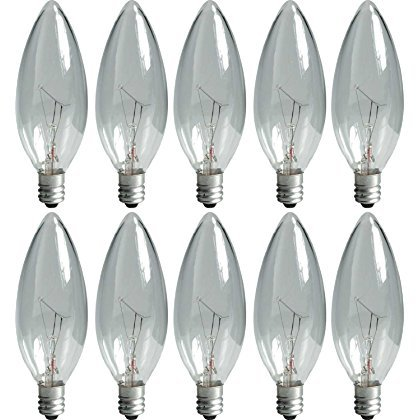 GE 74978 25-Watt Candelabra Light Bulb, Blunt Tip, 10-Pack ()
