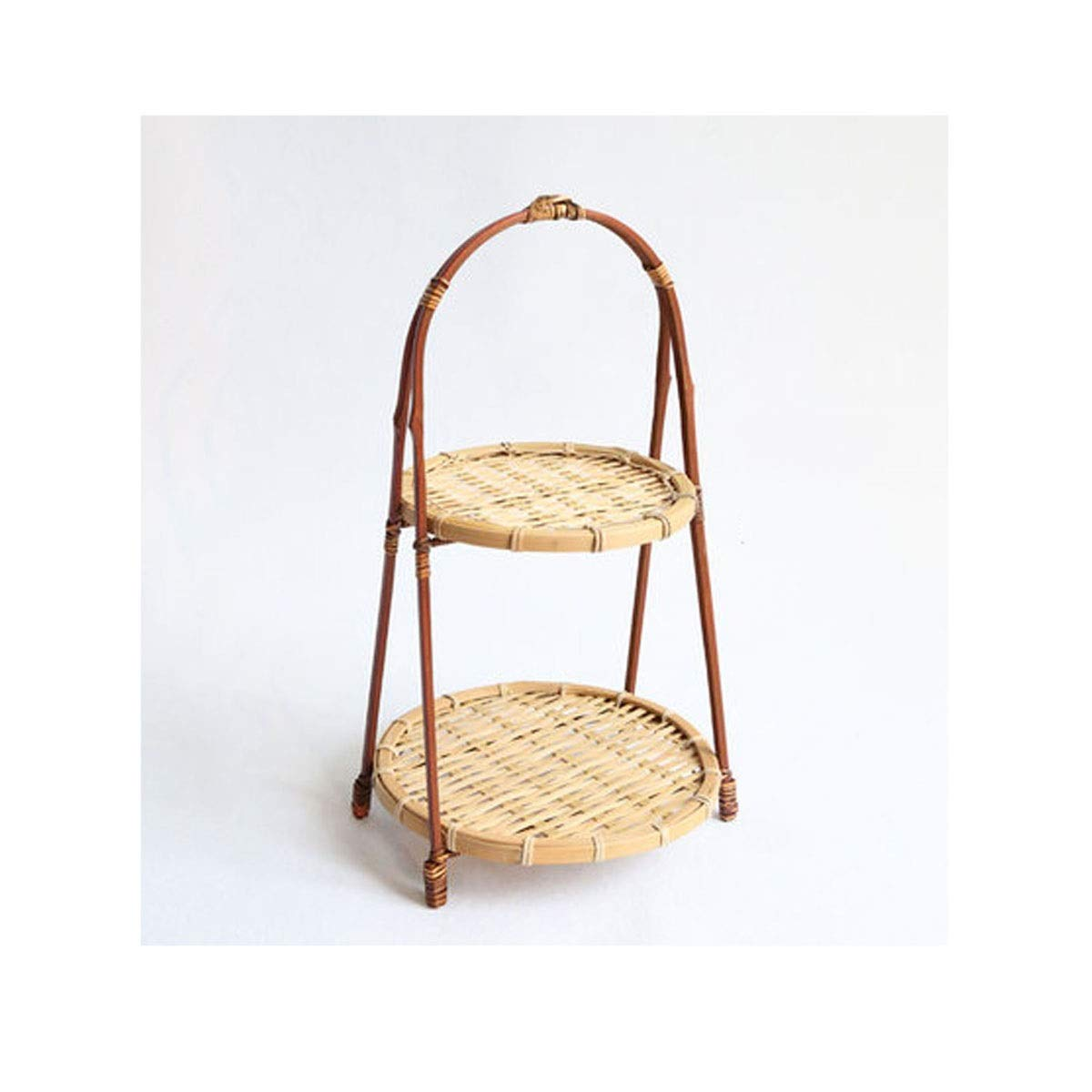QINRUIKUANGSHAN Bamboo Sweet Dessert Stand, Afternoon Tea Dessert Table, Old Dried Fruit Plate, Snack Plate, Double-Layer Fruit Plate, Handmade Bamboo Bread Basket, (Color : Natural) by QINRUIKUANGSHAN