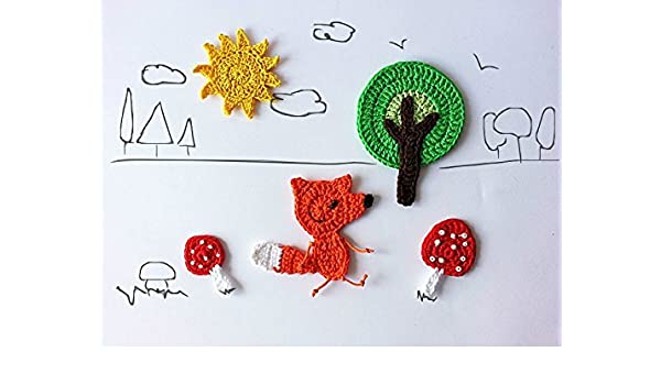 Amazon.com: fox set woodland creatures crochet applique set of 5