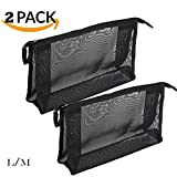 2 Piece Assorted Size Cosmetics See Through Make Up Bag/Organizer, Mesh Travel Accessories Organizer (Black)