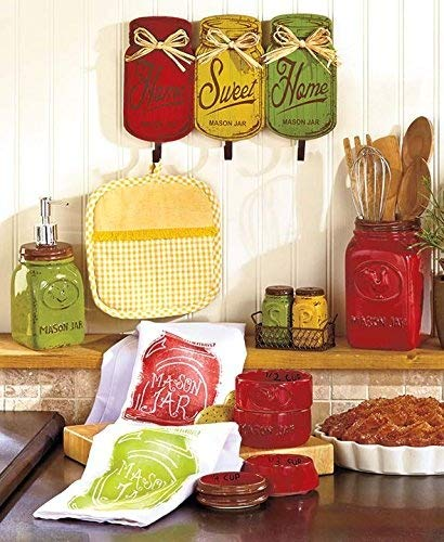 Wooden Red Yellow Green Rustic Home Sweet Home Metal Hooks Rack Utensil Holder Towel Hanger Wall Hanging Plaque Primitive Mason Jar Tuscan French Country Kitchen Decor