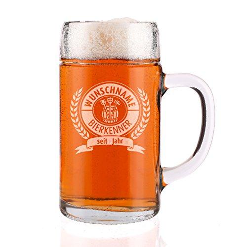 Privatglas 1 Liter Maßkrug mit Gravur für den Bierkenner mit Name + Geburtsjahr - toll zum Vatertag